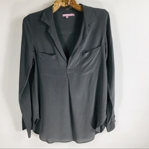 Dark Grey Silk Popover Blouse Sz XS front Pockets